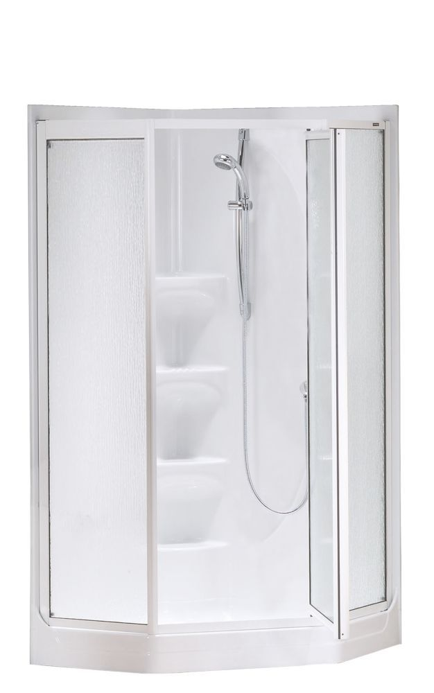 Equinox Ii 1 Piece Neo Angle Shower Stall In White Shower Stall