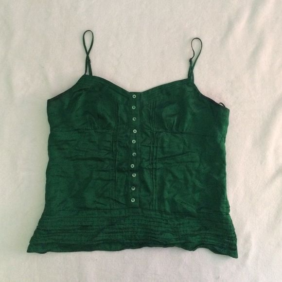 BCBG Max Azria Top BCBG Max Azria top. Adjustable straps. Faux button up. 100% silk. Beautiful emerald green color. Tops