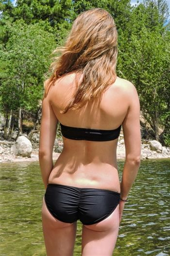 548eaa3ce1141 Women's black full scrunch bikini bottoms made in the USA from quality  material, available at Sunnyside Swimwear in sizes XS-XXL!