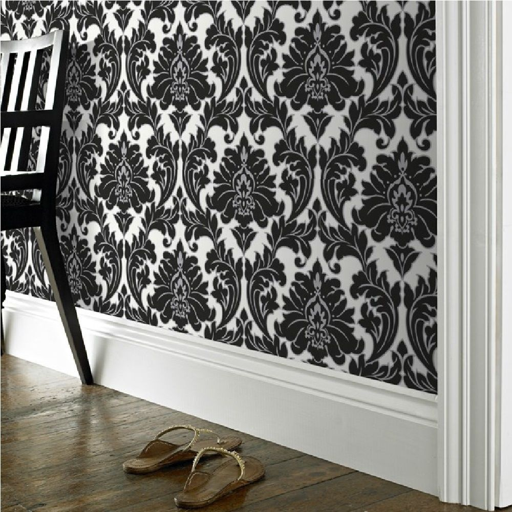 Best Majestic Damask Feature Wall Wallpaper Black White Metallic Silver Outline Home Black 400 x 300