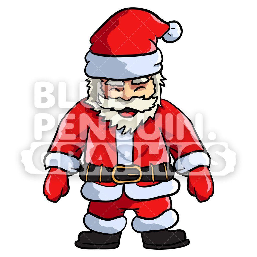 Santa Standing Vector Cartoon Clipart Illustration
