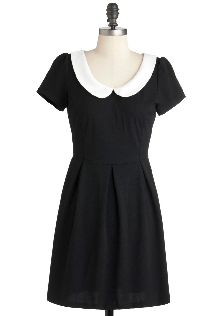 Black dress with white peter pan collar - Record Time Dress Black Solid Peter Pan Collar Casual Vintage Inspired