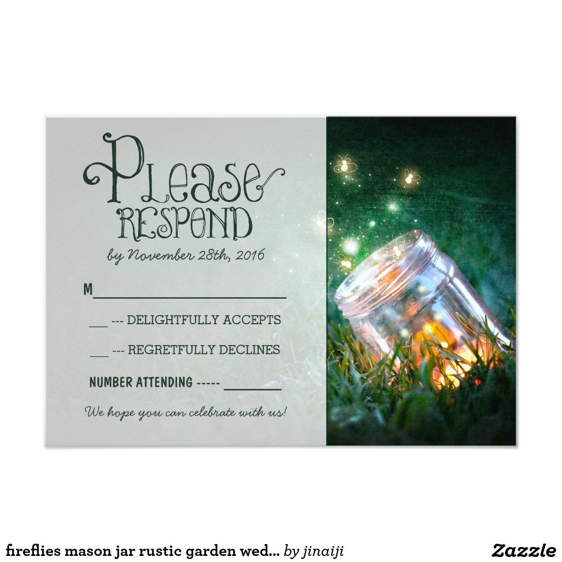 fireflies mason jar rustic garden wedding RSVP Card | Firefly mason ...