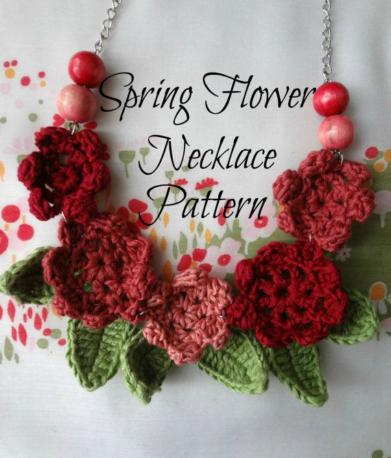 Crochet Pattern Springflower Necklace 2 Crocheted Necklace