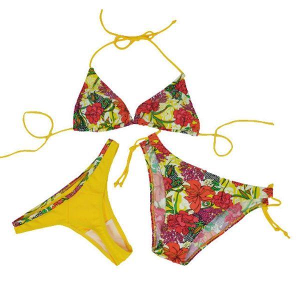 3 in 1 thong bikini red sexy swimsuit