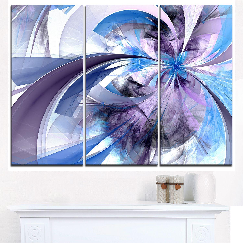 Purple and blue symmetrical fractal flower modern floral wall art