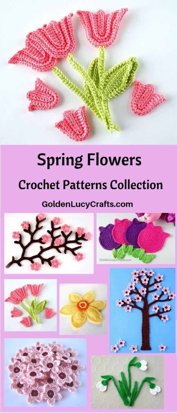Crochet Spring Flowers Patterns Collection - GoldenLucyCrafts