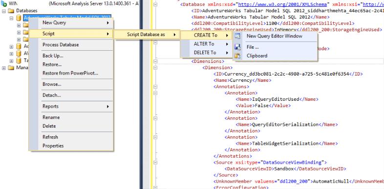 Using Tabular Model Scripting Language With Sql Server Analysis Services Ssas Scripting Language Sql Server Sql