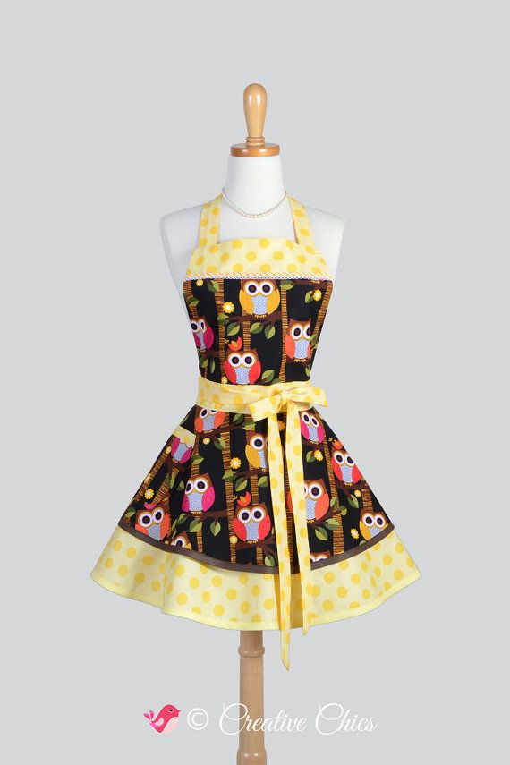 Etsy listing at https://www.etsy.com/listing/209431807/ruffled-retro-apron-hooty-hoot-owls-with