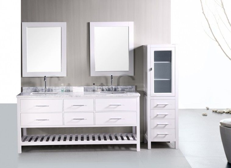 Pearl White Shaker Style Double Sink Bathroom Vanity Cabinet Unit Feature Solid Wood Cabinetry And 6 Storage Cabinet Drawers And Bottom Open Shelving Cabinet Along With Tempered Glass Door Linen Tower And Also 4 Staged Drawers Linen Cabinet And Carrara White Marble Vanity Top And Backsplash And Also Satin Nickel Cabinet Hardware And Also Two Undermount Rectangle Sinks And Polish Chrome Two Handle Sink Faucets And White Wood Frame Vanity Wall Mirrors