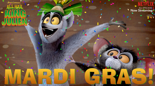 Everyday is a Mardi Gras day for #KingJulien!
