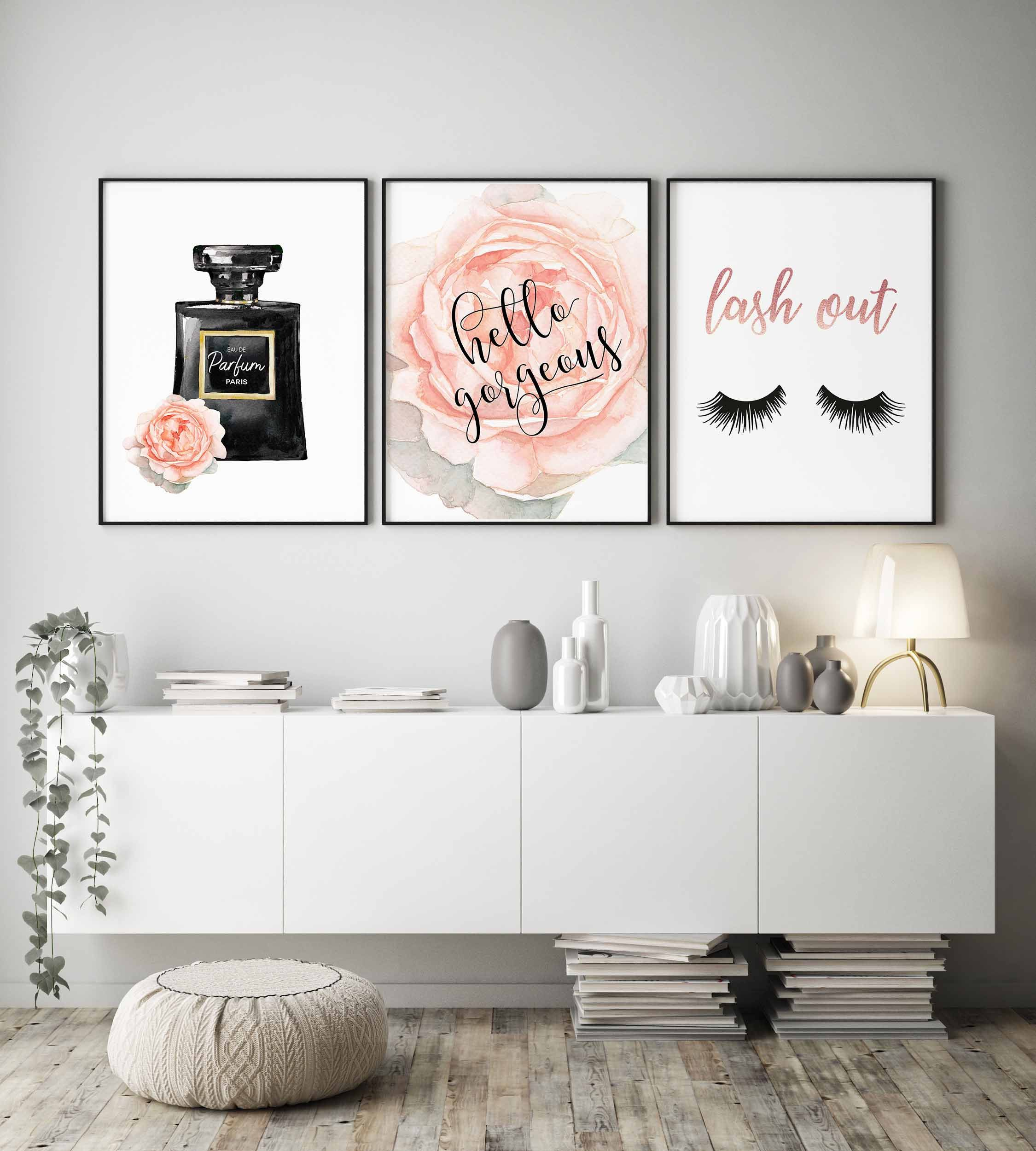 Hello gorgeous print,Lash out sign,Perfume bottle,Fashion wall art,Watercolor rose print,Beauty printables,Lashes print,girls bedroom decor