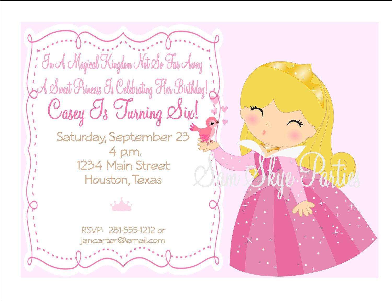 Princess Aurora Inspired Birthday Party Invitation, Princess ...