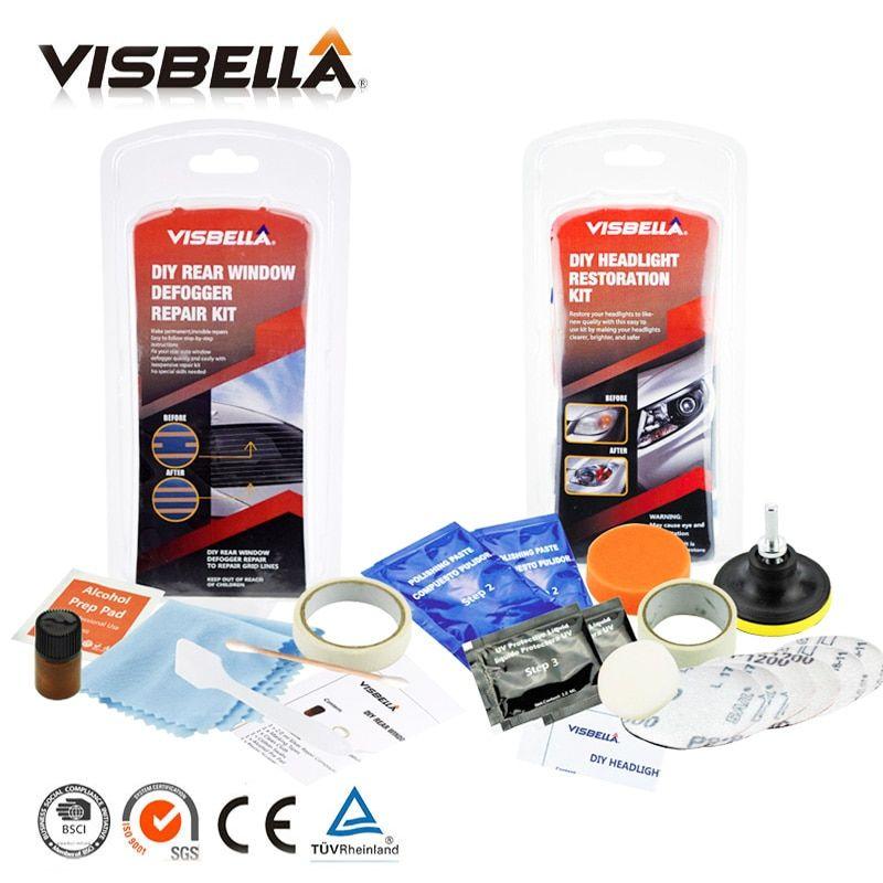 Visbella Diy Rear Window Defogger Repair Kits Fix Auto Glass Mist Broken Grid And Headlamp Restoration Kits Car Headligh Clean Visbella Rear Window Defogge