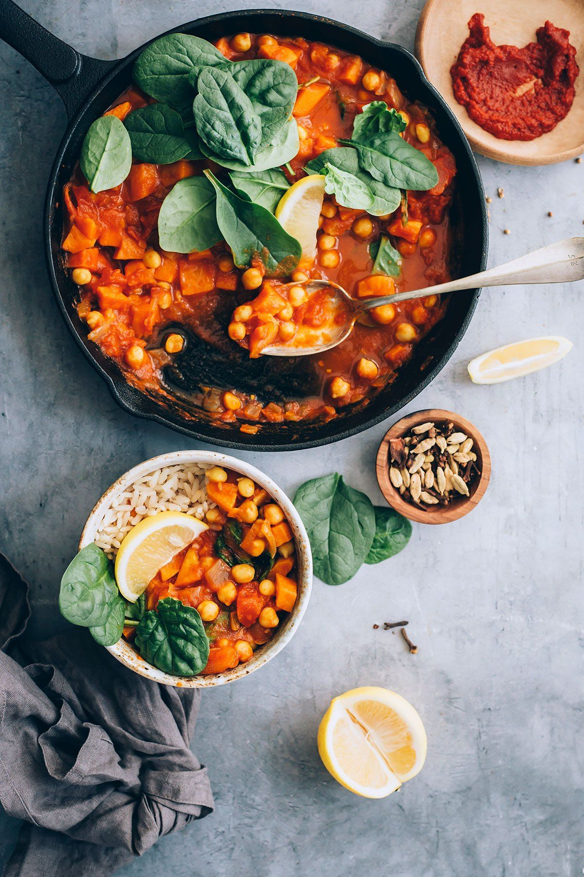 Moroccan Inspired Sweet Potato And Chickpea Stew With Spinach