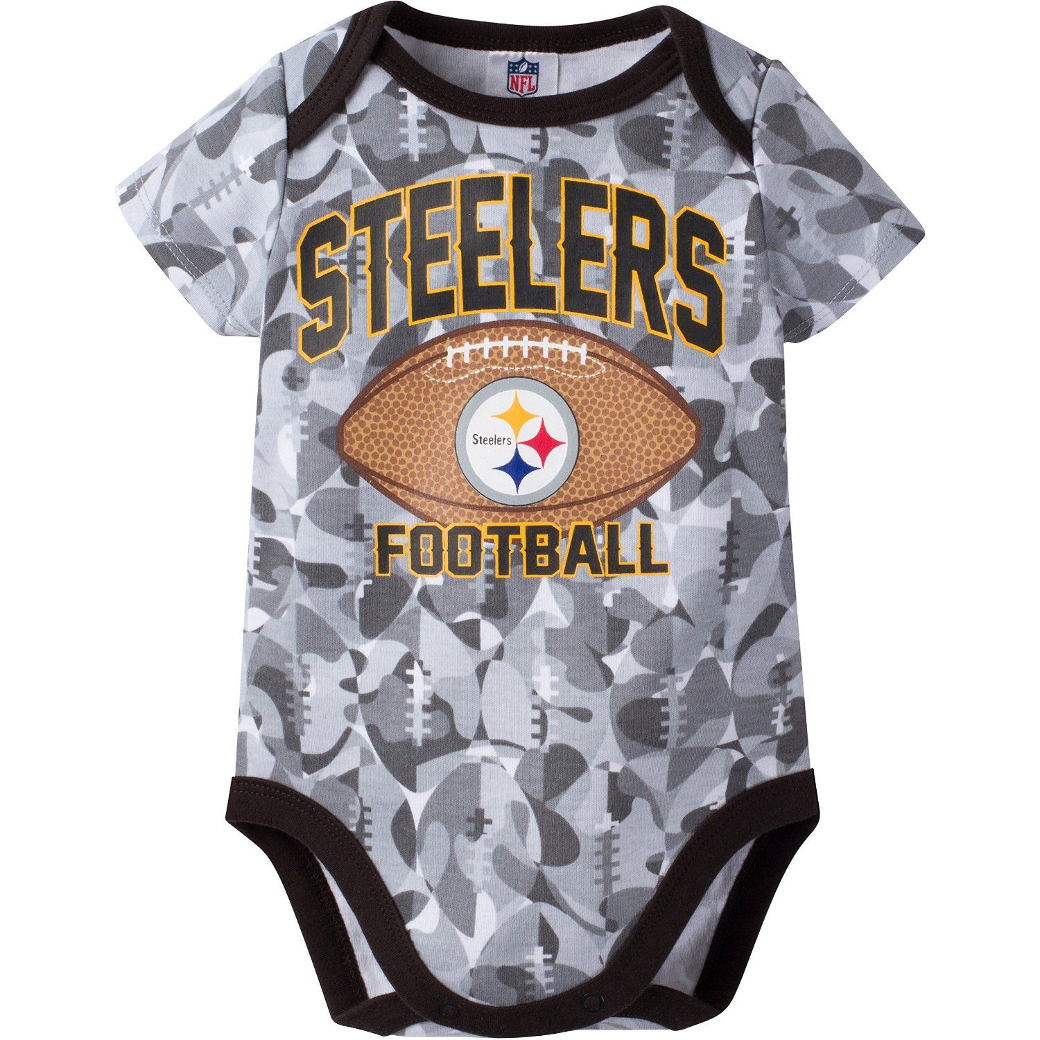 Fun camo fabric bodysuit with Steelers Logo ficial NFL Licensed