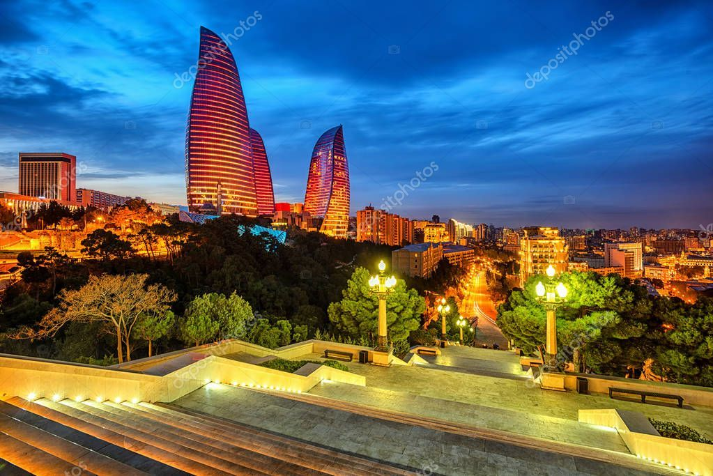 Baku City Azerbaijan In The Evening Light Stock Photo Aff Azerbaijan City Baku Evening Ad Baku City City Azerbaijan