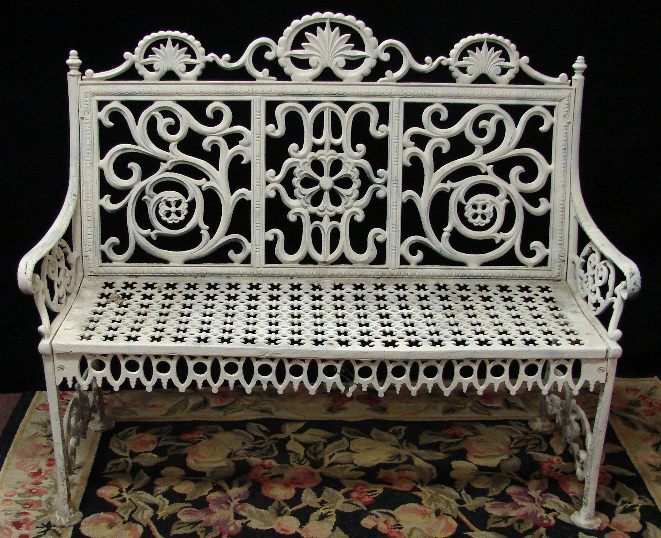 Cast Iron Victorian Garden Bench-love White
