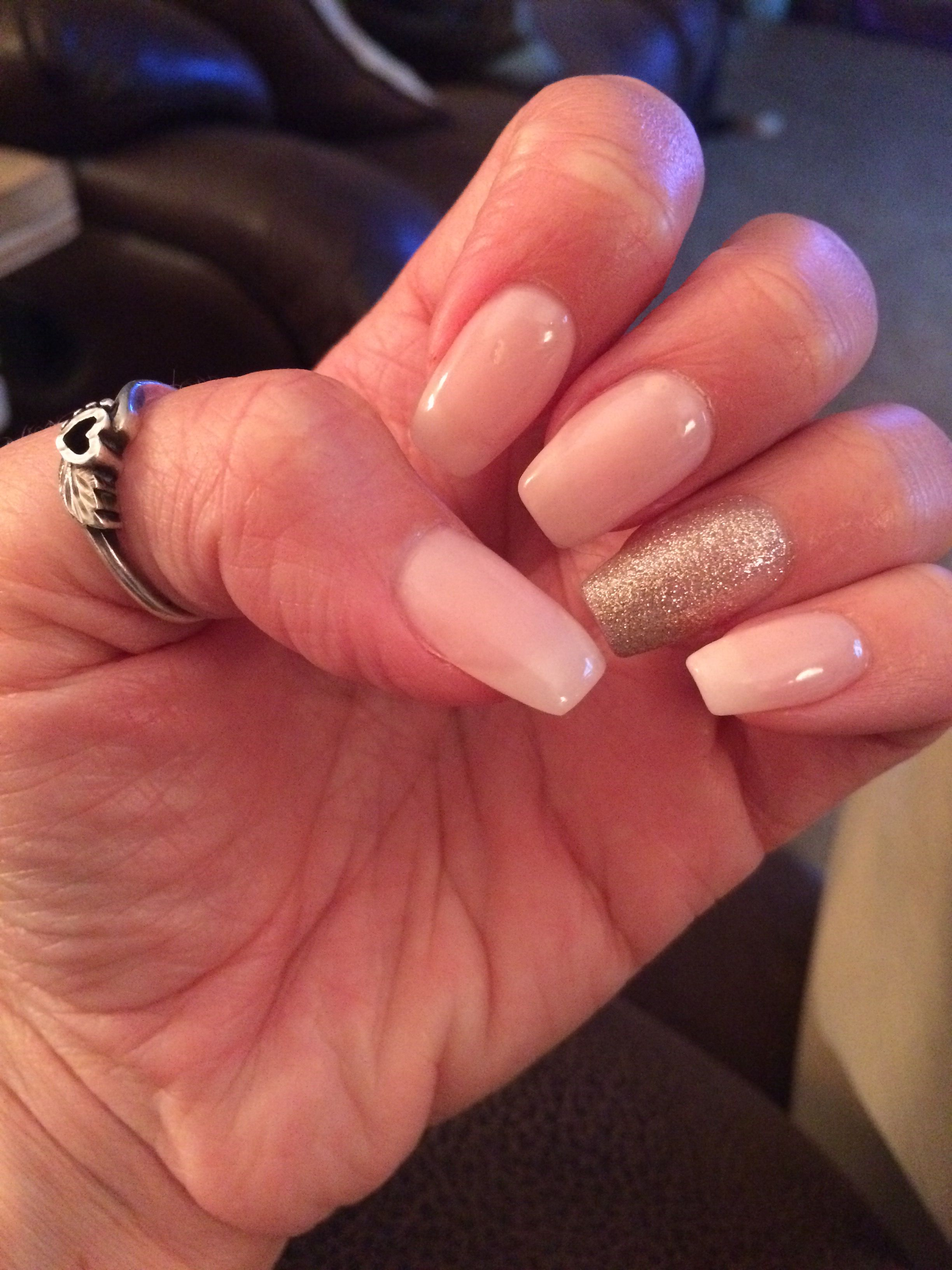 Opi Bubble Bath Coffin Nails With Gold Glitter Accent Gold Acrylic Nails Gold Nails Rose Gold Nails