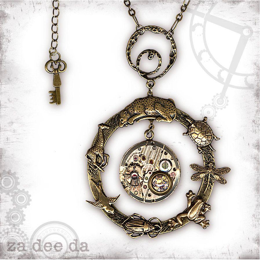 Evolution Animal Steampunk Necklace - Za Dee Da - The Mad Scientist Collection - Evolution in Time.  via Etsy.