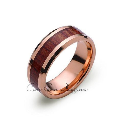 Koa Wood Wedding Ring – Rose Gold Tungsten Band – Hawaiian Koa Wood – 8mm – Mens – Comfort Fit