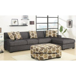 Minus Ottoman Poundex 2pc Reversible Sectional Sofa