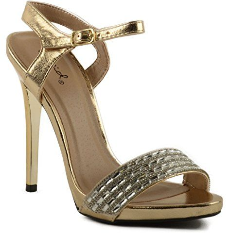 a3268fb17e5 Qupid Gladly-80 Jeweled Open Toe Ankle Strap Dress Heel | Crazy ...