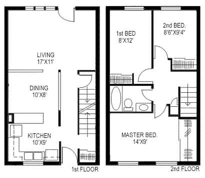 Square feet  House plans and Townhouse on Pinterest