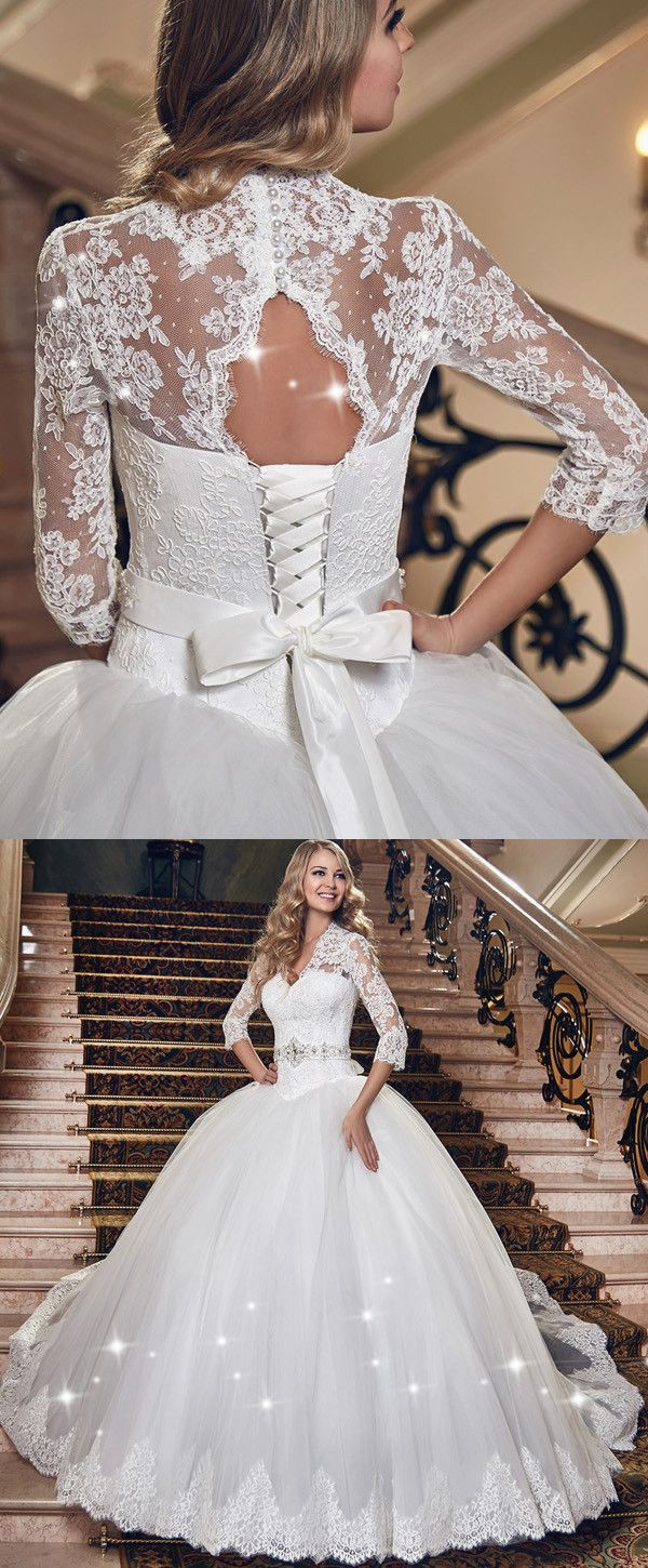 Glamorous tulle vneck neckline ball gown wedding dress with lace