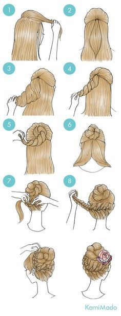 braided bun top half, side braid up to bun bottom half