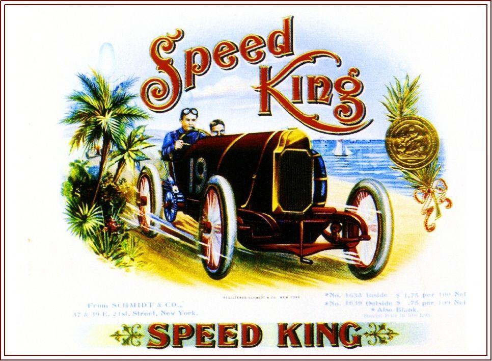 Speed King Race Car at Ocean Smoke Vintage Cigar Box Crate Inner ...