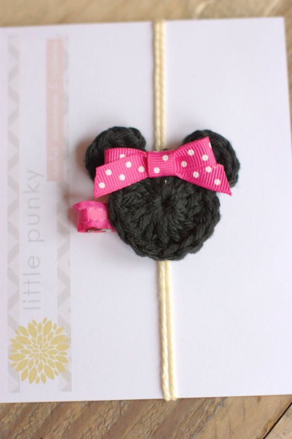 Minnie Mouse - Crochet Hair Clip - Girls Hair Clip - Baby Hair Clip, by littlepunky, $5.00 #babyhairaccessories