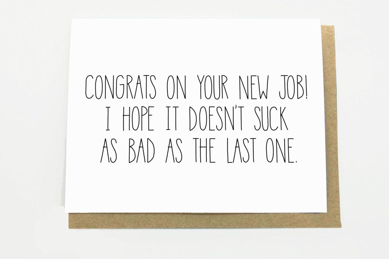 Funny New Job Congratulations New Job Card New Job Etsy Mooie Woorden Woorden Kaarten
