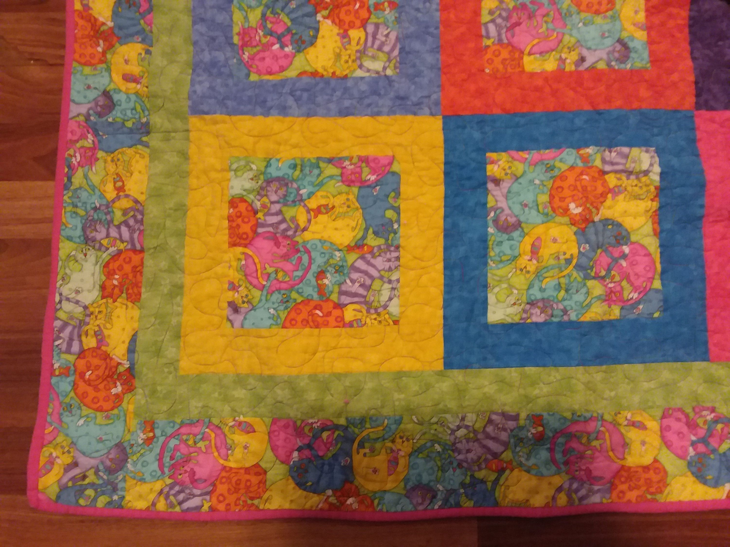 Quilt Wallhanging Throw Multicolor Cats Vintage Handmade Abstract ...