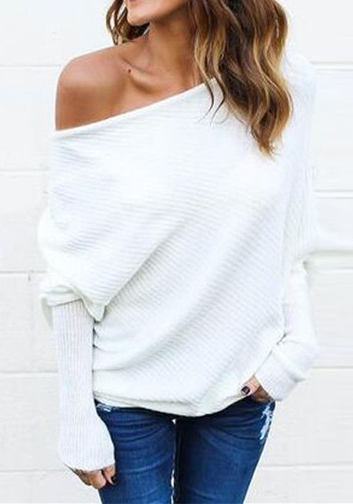 6e70eee250bef One Shoulder Batwing Sleeve Loose Sweater
