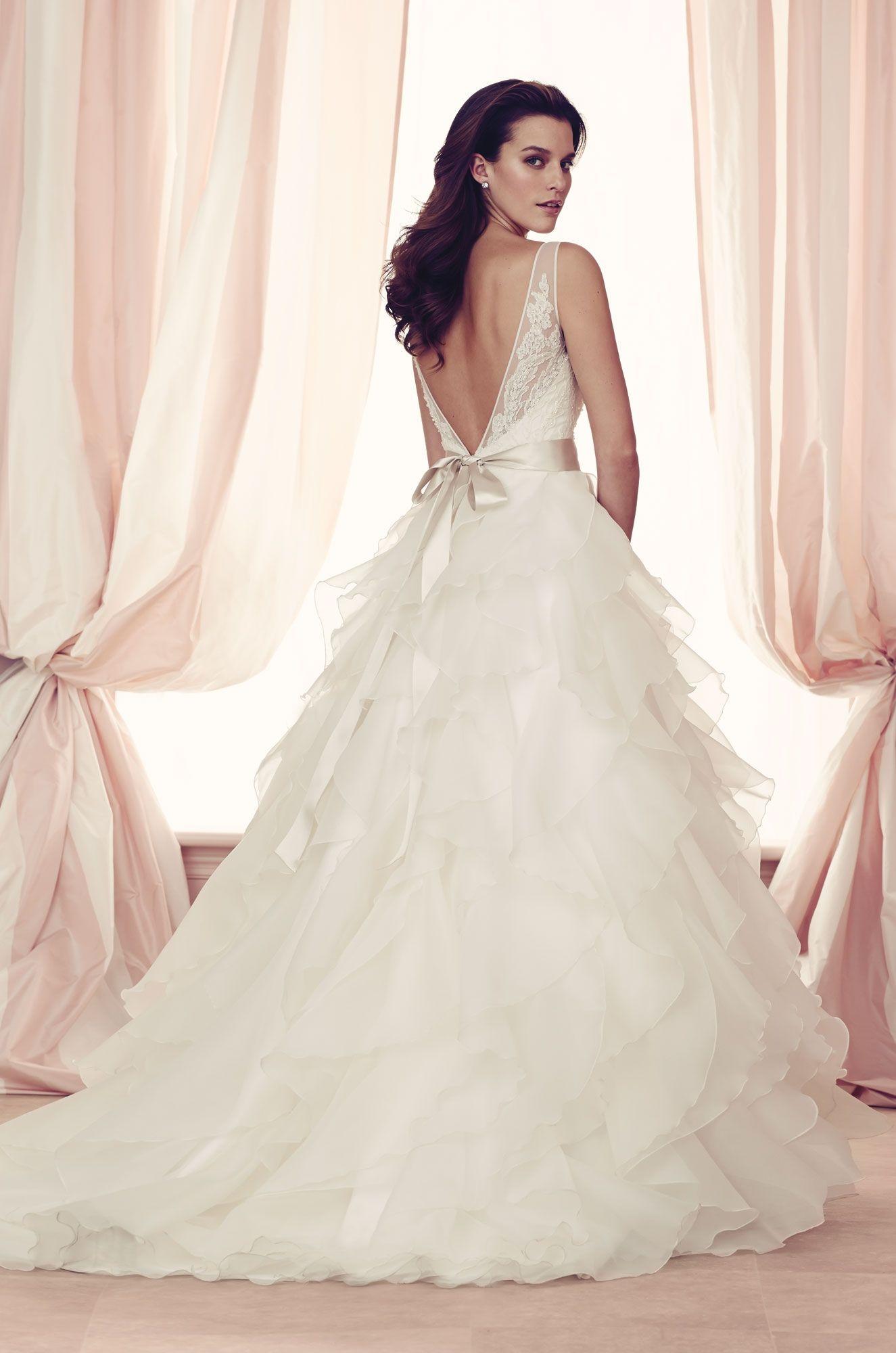 Palomablancawed french alençon lace and organdy wedding dress back