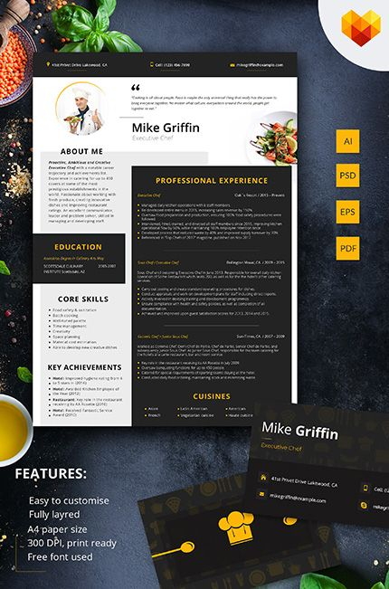 Mike Griffin  Executive Chef Resume Template  Resume Templates