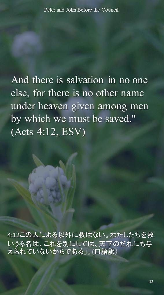 """And there is salvation in no one else, for there is no other name under heaven given among men by which we must be saved.""""(Acts 4:12, ESV)4:12この人による以外に救はない。わたしたちを救いうる名は、これを別にしては、天下のだれにも与えられていないからである」。(口語訳)"""