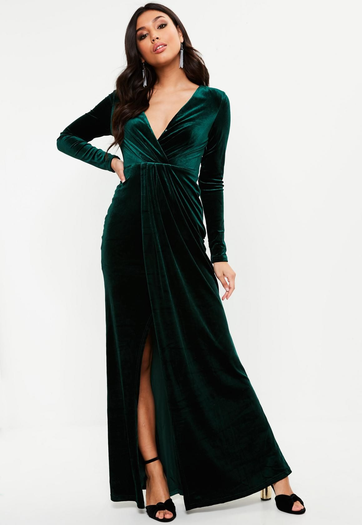 Greatest Hits Forest Green Satin Off-the-Shoulder Maxi