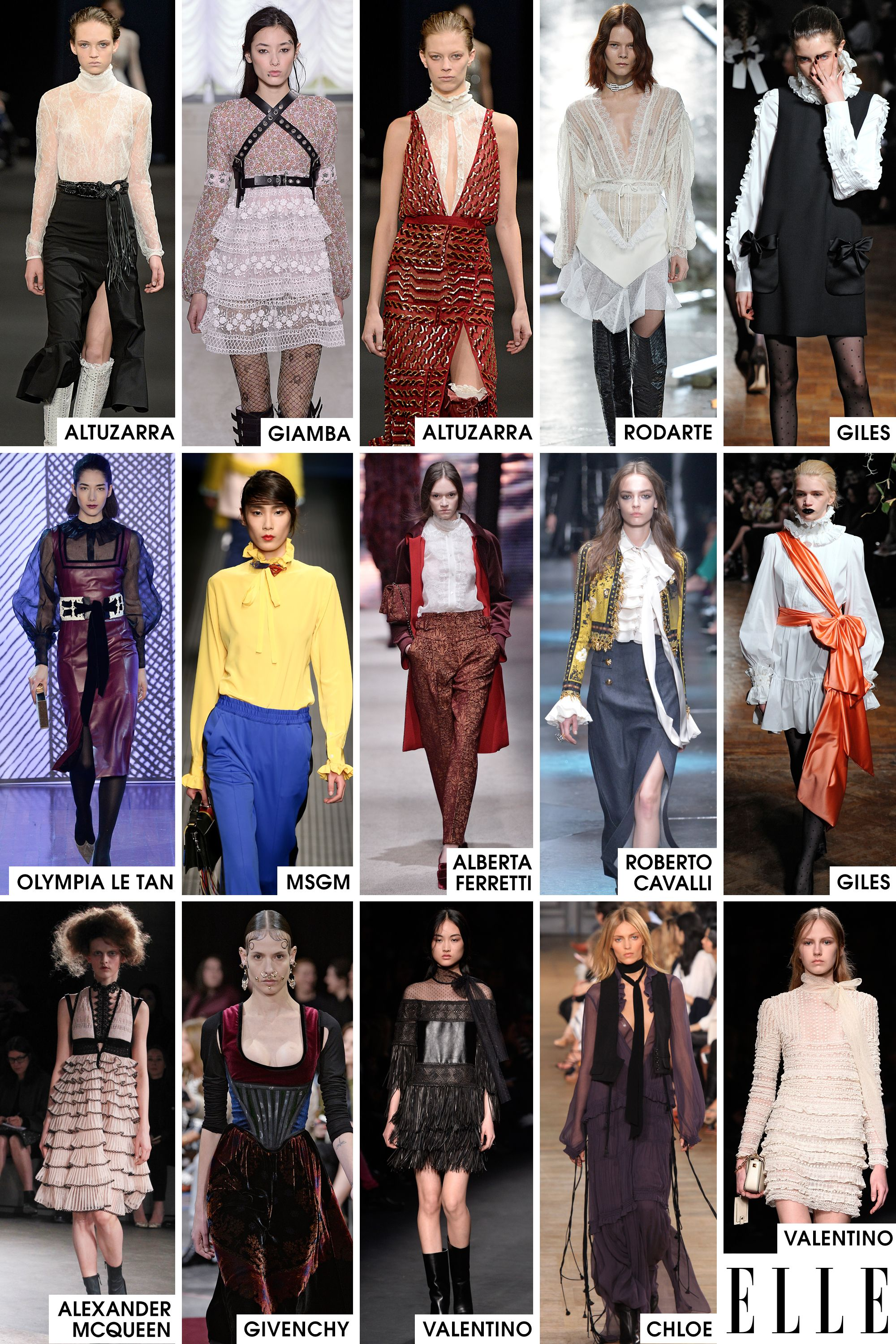 Forget going back decades for inspiration, this season we are going back centuries. Things are feeling positively 19th century on the runways. High collars, ruffles, and lace all made an appearance as a nod to the era but bright colors, leather details, and sexy silhouettes subverted the traditionally buttoned-up look with some modern flair.   - ELLE.com