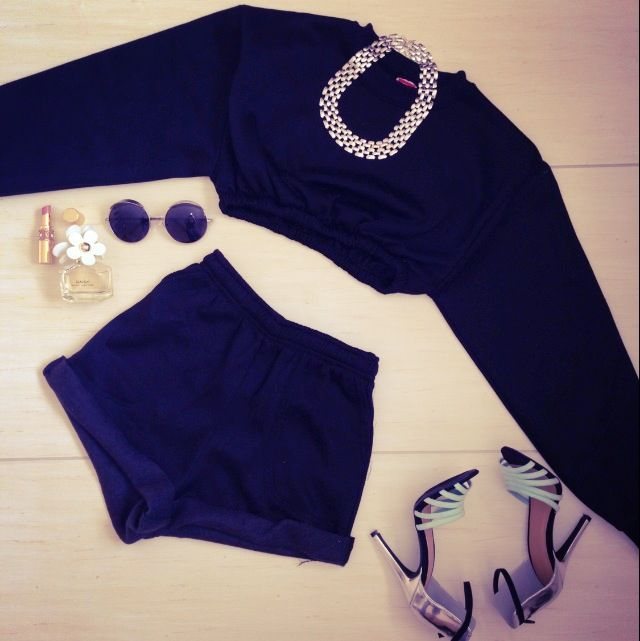 All black everything. Sweat suit set and sunglasses from sosorella.com