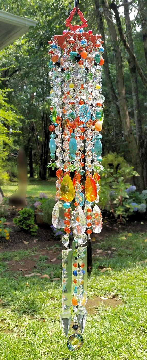 Sunny Days Antique Crystal Wind Chime, Fire Orange and Turquoise ...