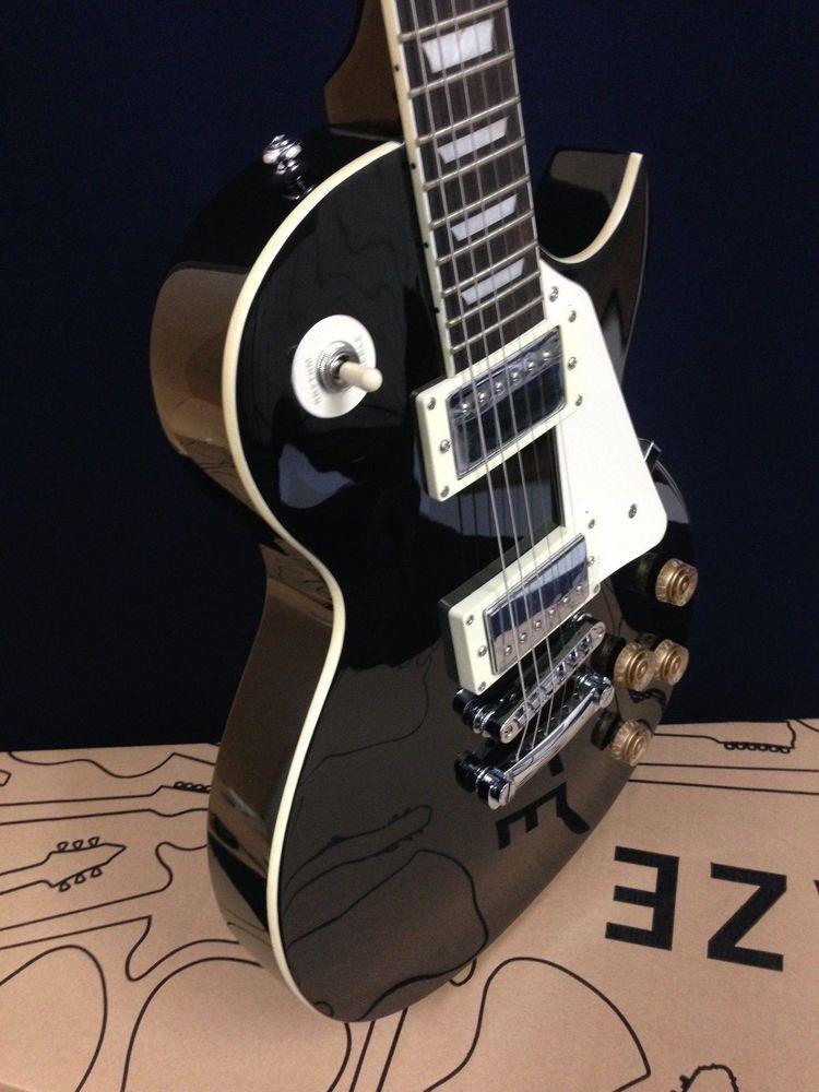 4/4 Haze SEG-277BK Les Paul Electric Guitar,Black+Free gig bag,Strap-Full Pack!