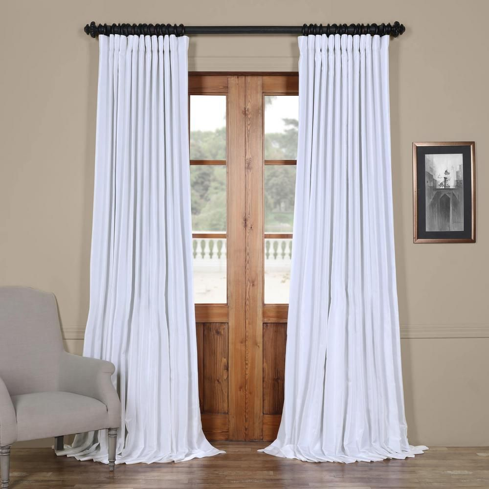 Exclusive Fabrics Furnishings Ice White Blackout Extra Wide Vintage Textured Faux Dupioni Curtain 100 In W X 108 In L Pdch Ks1bo108dw The Home Depot Panel Curtains Drapes Curtains Colorful Curtains