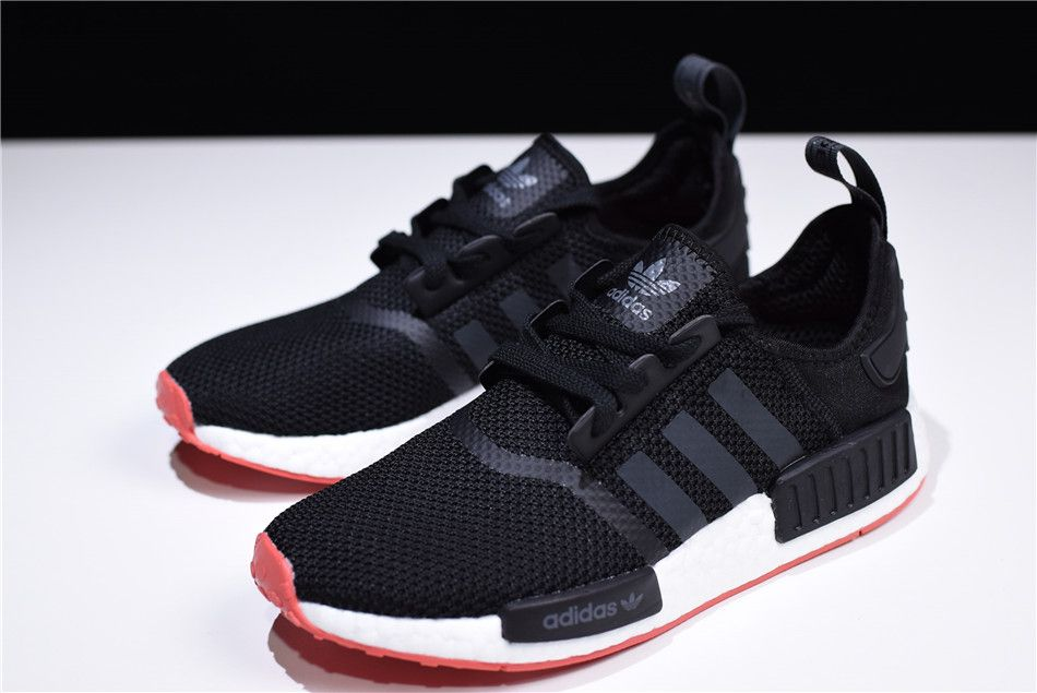 2018 New adidas NMD R1 Black Carbon-Trace Scarlet Men s Running Shoes CQ2413 36cf2de183d9