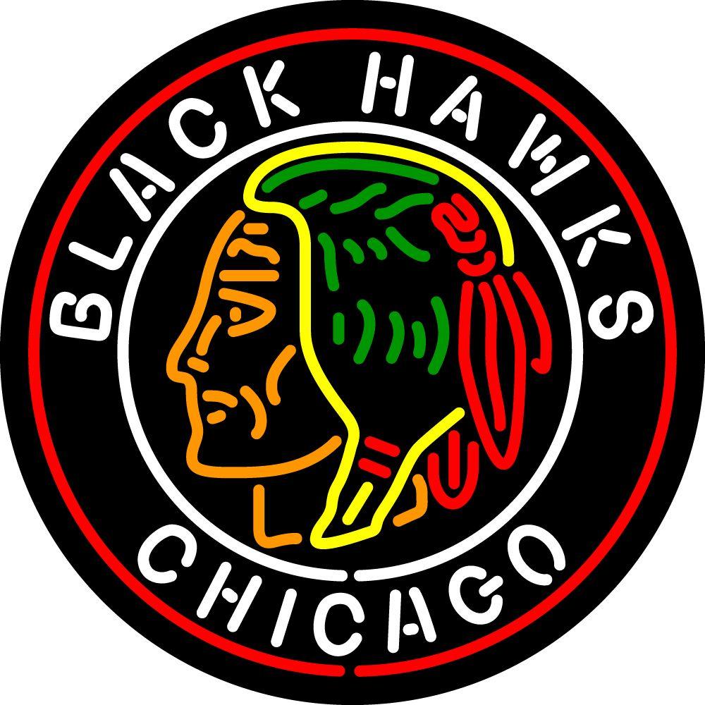 Chicago Blackhawks Primary 1937 38 1954 55 Logo NHL Neon