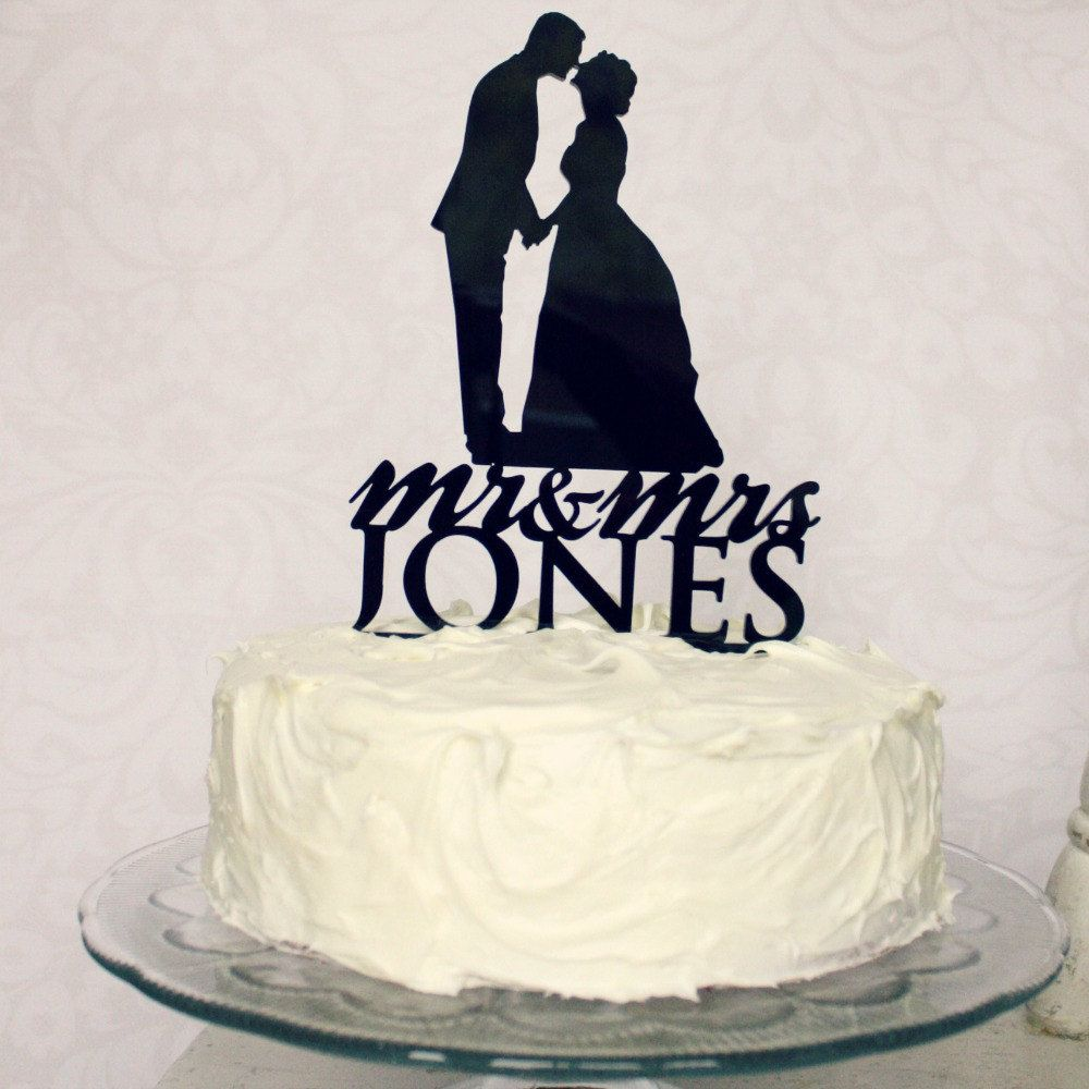 Personalized silhouette wedding cake topper with names in acrylic