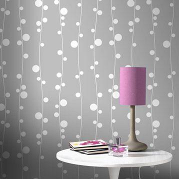 papier peint vinyle sur intiss oxyg ne gris larg m leroy merlin papel hogar. Black Bedroom Furniture Sets. Home Design Ideas