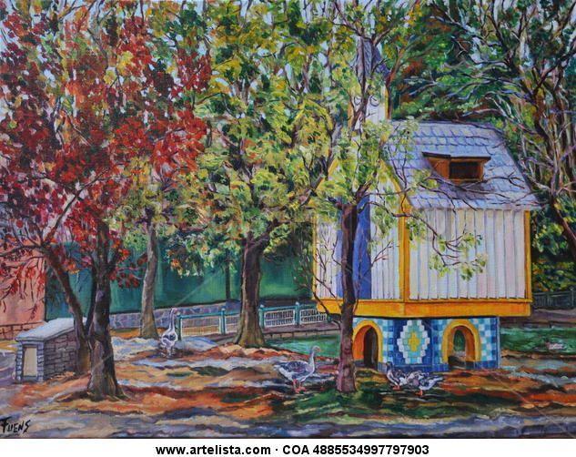 El parque de los patos. Bilbao Oleo sobre lienzo lino Fuensanta R.Urien