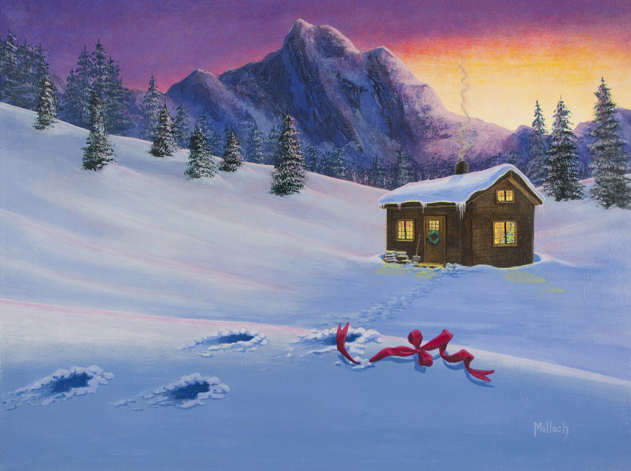 Early christmas morn acrylic painting by jack malloch